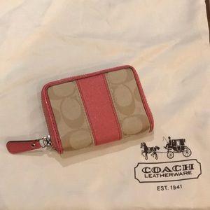 "COACH Zipper-around wallet 4""x3""x3/4"" Tan/Coral"